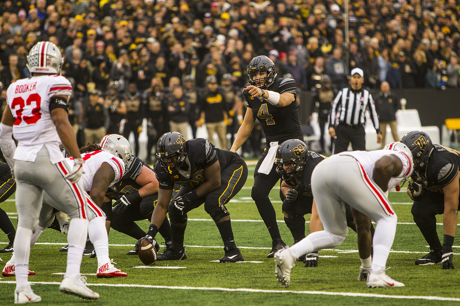 Iowa quarterback Nate Stanley points out a linebacker during Iowa's game against Ohio State at Kinnick Stadium on Saturday, Nov. 4, 2017. The Hawkeyes defeated the Buckeyes 55 to 24.