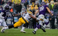 Iowa defensive back Devonte Young makes a tackle during a game against Northwestern at Ryan Field on Saturday, October 26, 2019. The Hawkeyes defeated the Wildcats 20-0. (Megan Nagorzanski/The Daily Iowan)