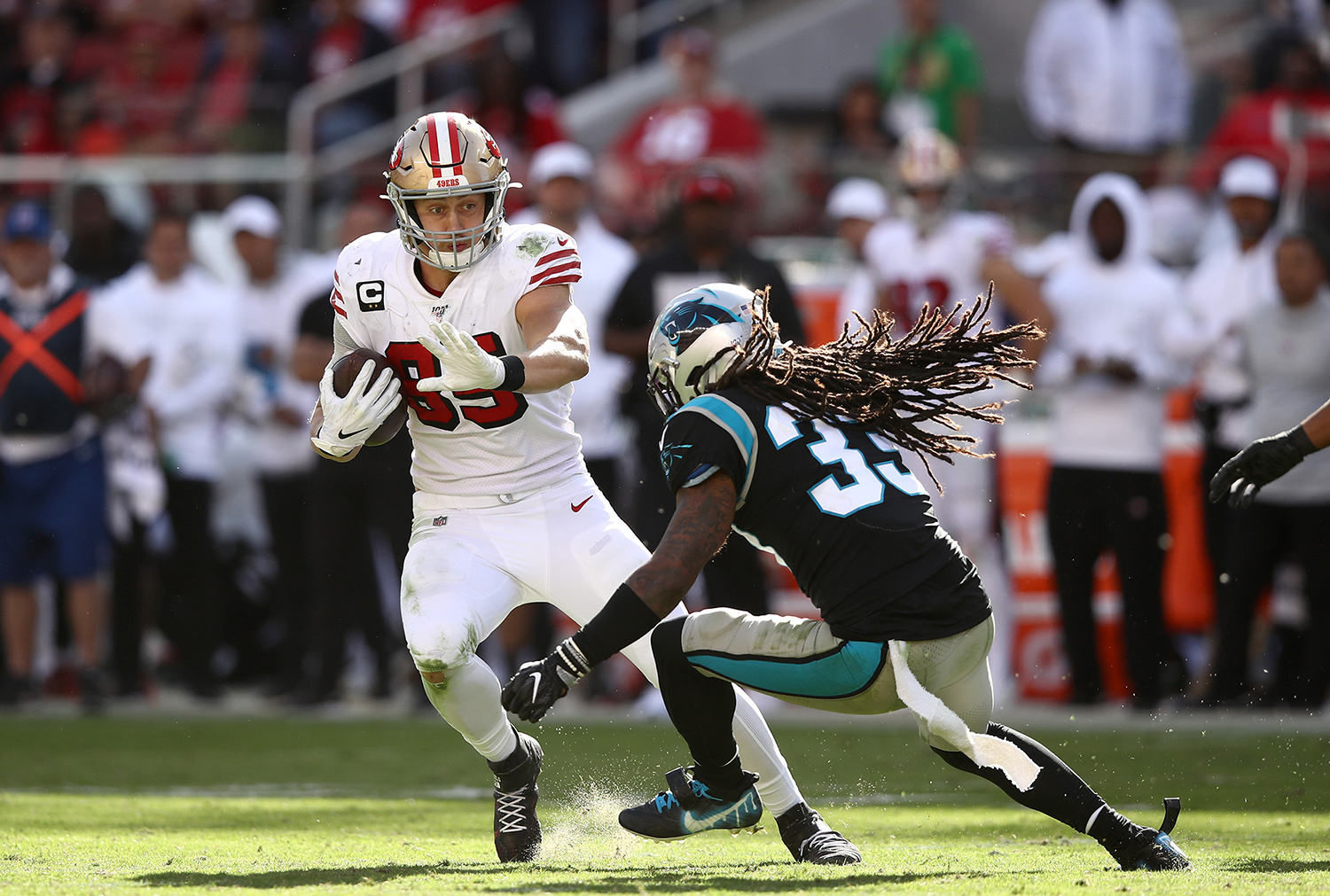 Tre Boston of the Carolina Panthers tackles George Kittle of the San Francisco 49ers on Oct. 27 at Levi's Stadium in Santa Clara, California. (Ezra Shaw/Getty Images/TNS)