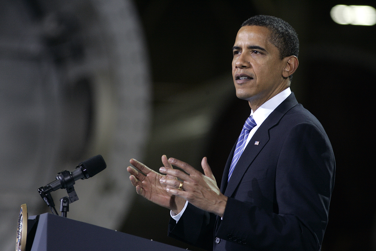 Amy Andrews/The Daily Iowan President Barack Obama discusses energy plans during his visit to Newton, Iowa at the Trinity Structural Towers on April 22, 2009.  The warehouse was once occupied by Maytag before it closed in 2006 and then was bought by Whirlpool
