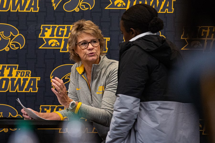 Iowa+head+coach+Lisa+Bluder+talks+with+guard+Tomi+Taiwo+after+practice+at+Carver-Hawkeye+Arena+on+Thursday%2C+Oct.+24%2C+2019.