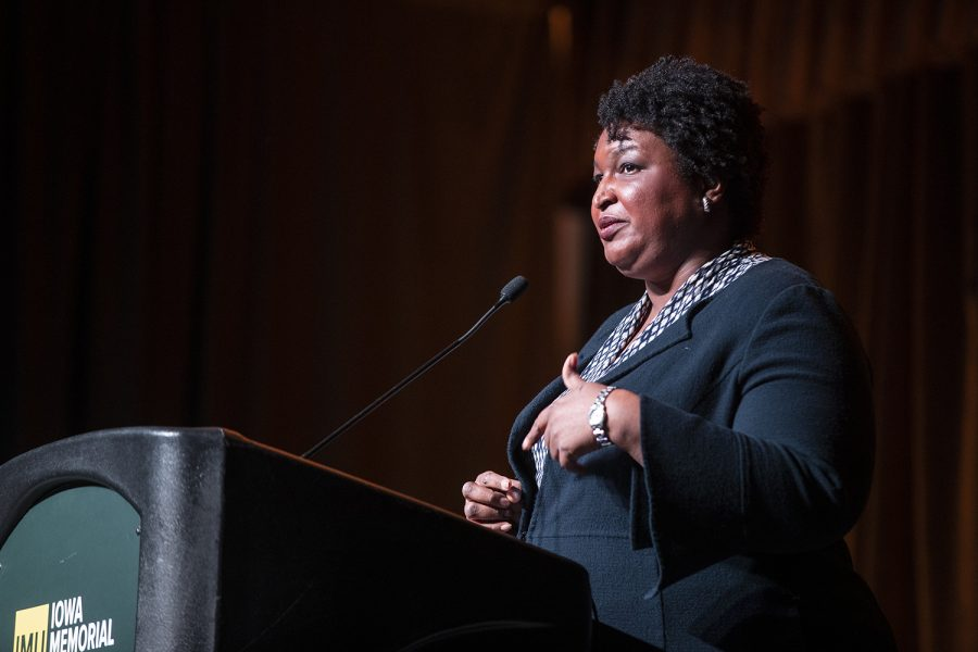 Fair+Fight+Founder+Stacey+Abrams+addresses+the+crowd+at+the+IMU+on+Monday%2C+Nov.+4%2C+2019.+Abrams+spoke+on+the+100th+commencement+of+the+19th+amendment.+%28Katie+Goodale%2FThe+Daily+Iowan%29
