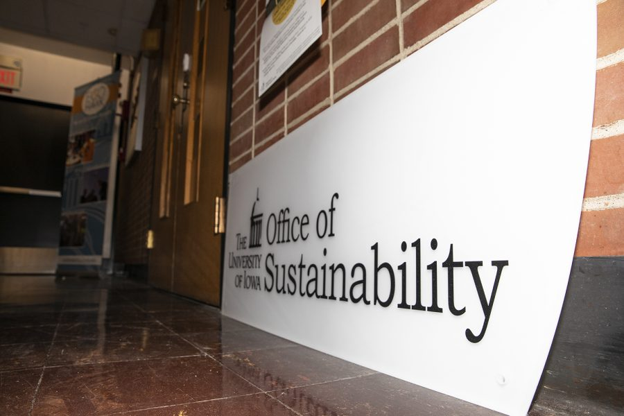 The University of Iowa Office of Sustainability in the Communication Center on October 21, 2019. The Office of Sustainability is partnering with University Dining to reduce waste at Iowa.