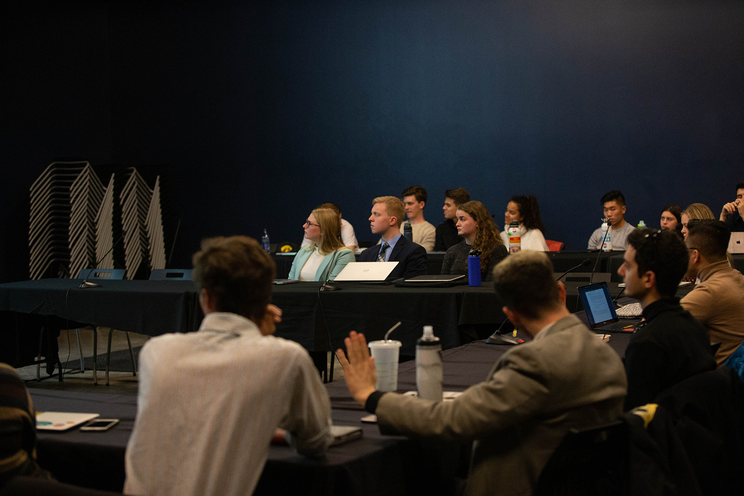 University of Iowa Student Government Senators listen to a presentation during a meeting in the IMU on Tuesday, Nov. 12, 2019.