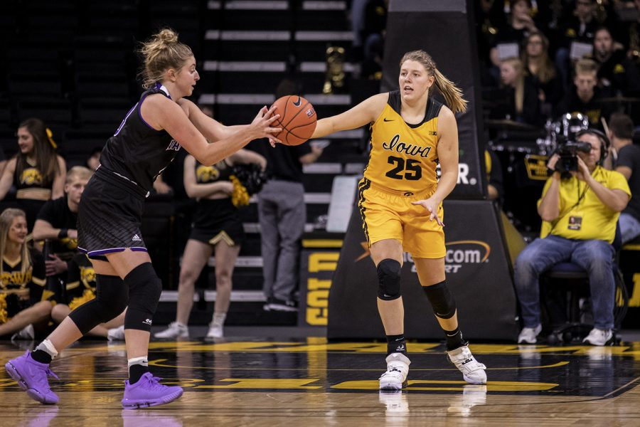 Iowa+Forward+Monika+Czinano+attempts+to+steal+the+ball+during+a+Women%27s+basketball+exhibition+game+between+the+University+of+Iowa+and+Winona+State+University+at+Carver+Hawkeye+Arena+on+November+3%2C+2019.+The+Hawkeye%27s+beat+the+Warrior%27s+with+a+score+of++98-53.+