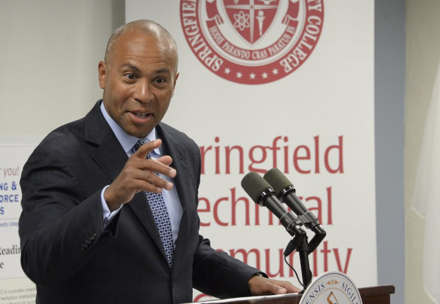 Massachusetts Gov. Deval Patrick speaks at Springfield Technical Community College in 2014.
