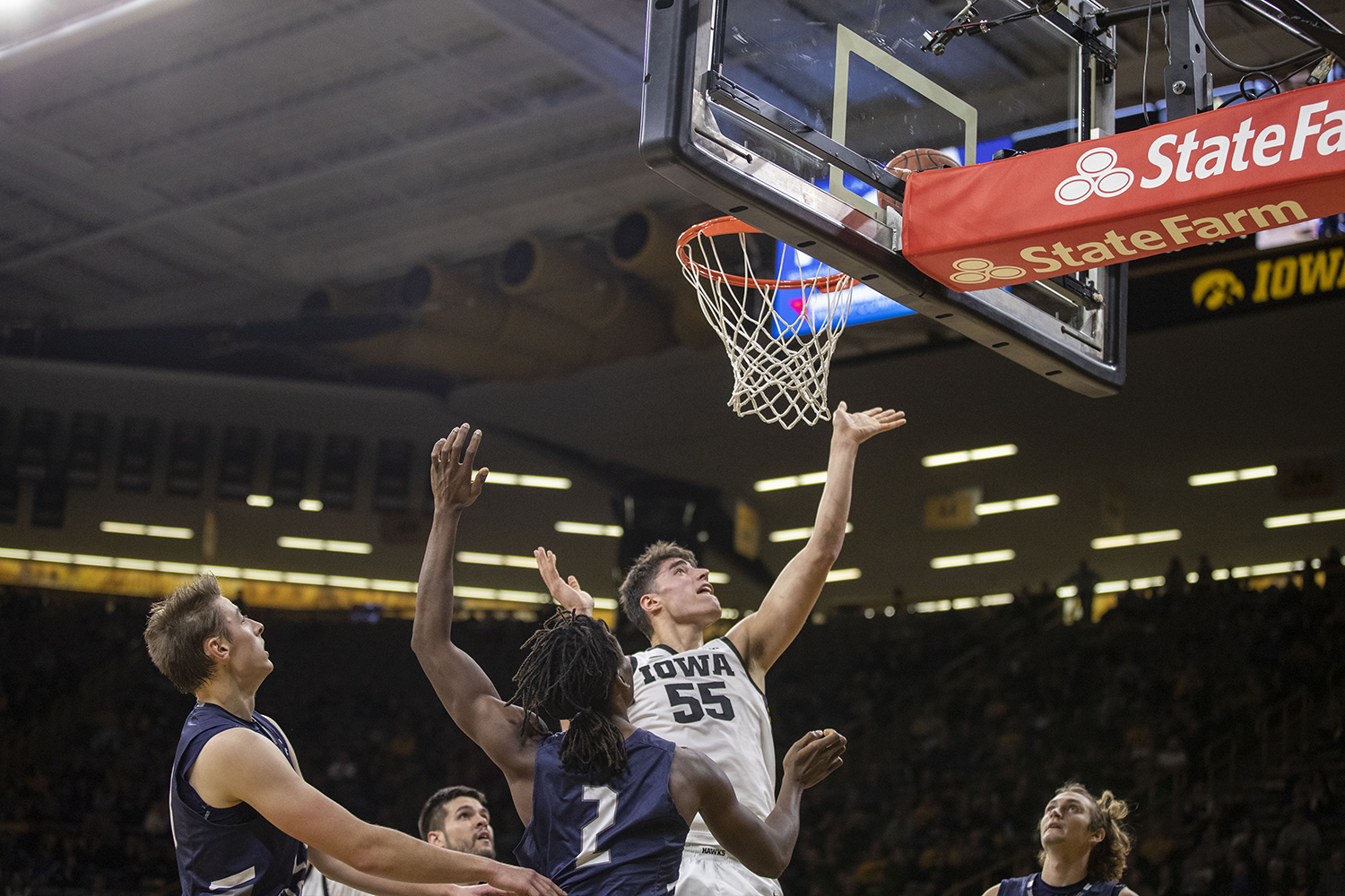Iowa center Luka Garza goes for a lay-up during the Iowa's  game against The University of North Florida in Carver-Hawkeye Arena on Thursday, Nov. 21, 2019. The Hawkeyes defeated the Osprey 83-68.
