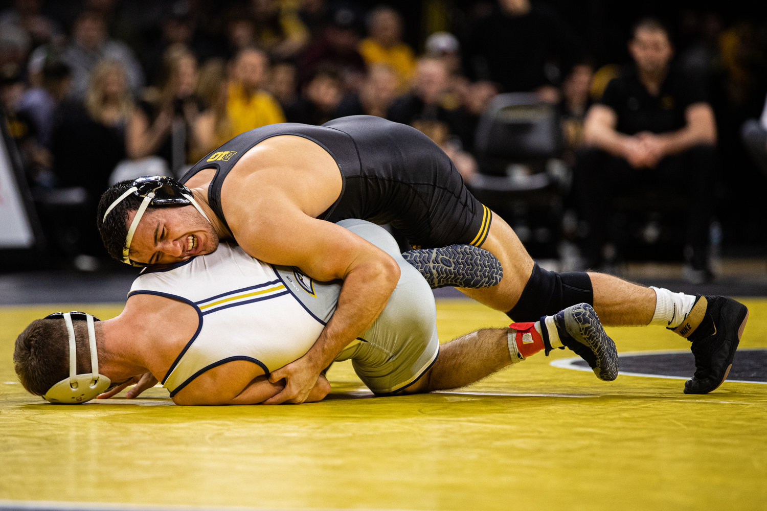 Iowa's 174-pound Michael Kemerer wrestles UTC's Hunter Fortner during a wrestling dual-meet between Iowa and Tennessee-Chattanooga at Carver-Hawkeye Arena on Sunday, Nov. 17, 2019. Kemerer won by technical fall, 20-0, and the Hawkeyes defeated the Mocs, 39-0. (Shivansh Ahuja/The Daily Iowan)
