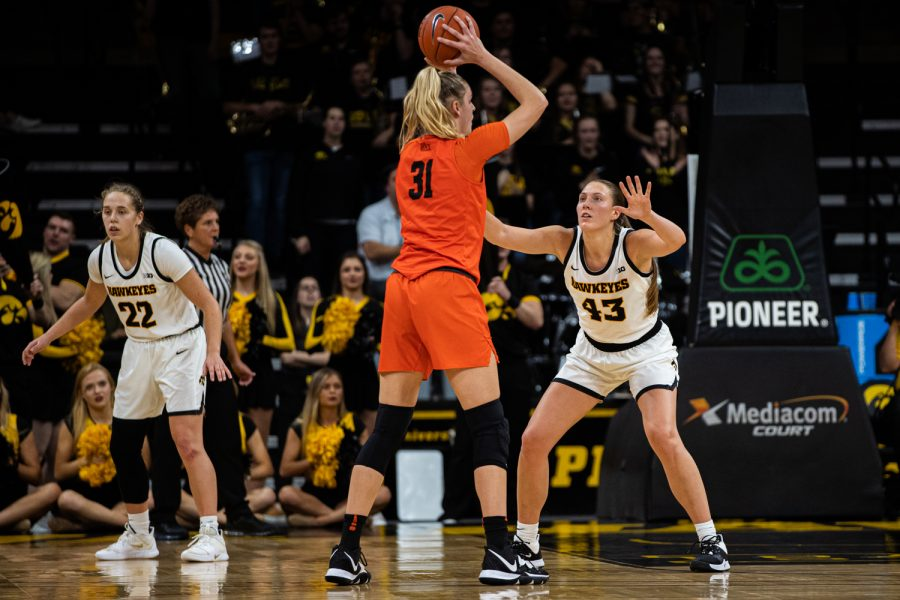 Iowa+forward+Amanda+Ollinger+defends+during+a+women%27s+basketball+game+between+Iowa+and+Princeton+at+Carver-Hawkeye+Arena+on+Wednesday%2C+November+20%2C+2019.+The+Hawkeyes+defeated+the+Tigers%2C+77-75%2C+in+overtime.