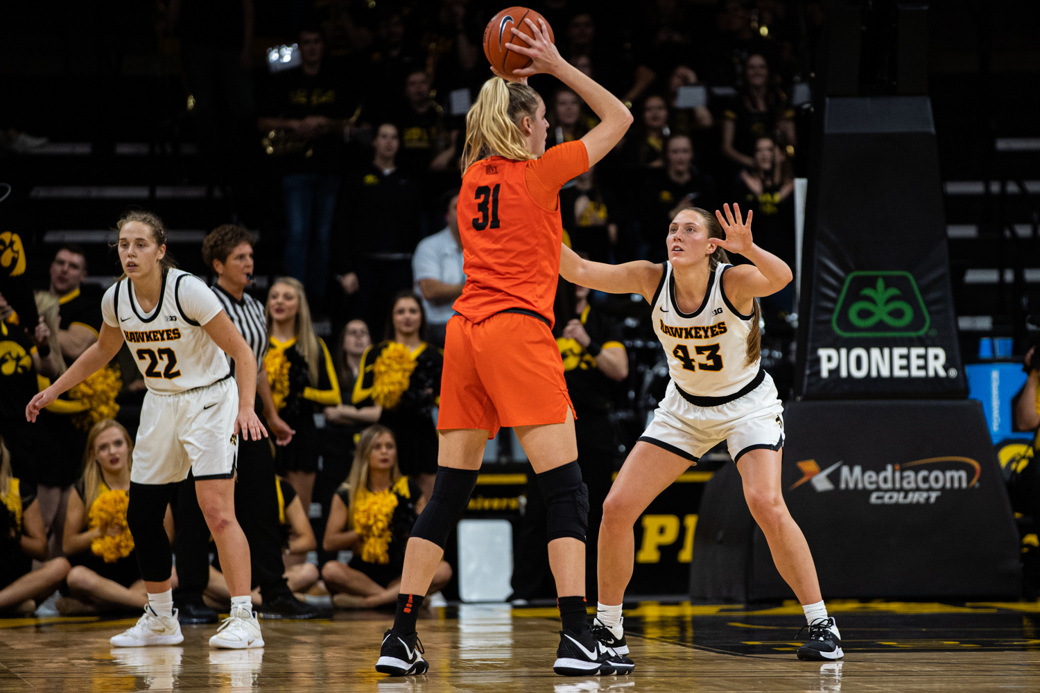 Iowa forward Amanda Ollinger defends during a women's basketball game between Iowa and Princeton at Carver-Hawkeye Arena on Wednesday, November 20, 2019. The Hawkeyes defeated the Tigers, 77-75, in overtime.