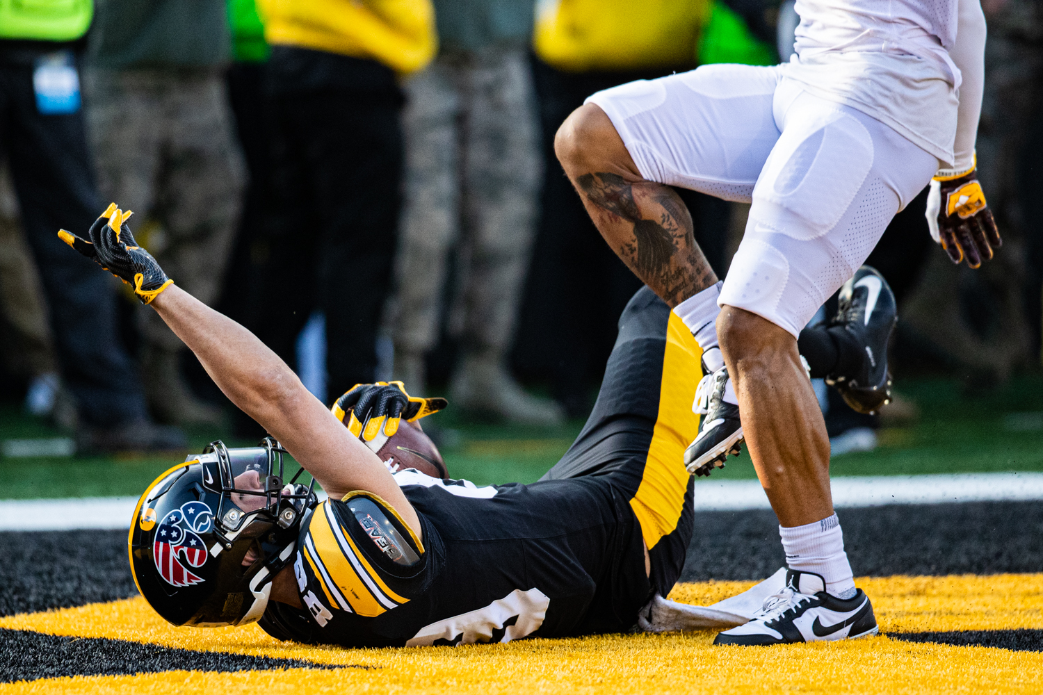 Iowa wideout Nico Ragaini scores a touchdown during a football game between Iowa and Minnesota at Kinnick Stadium on Saturday, Nov. 16, 2019. The Hawkeyes would fail the point-after attempt.
