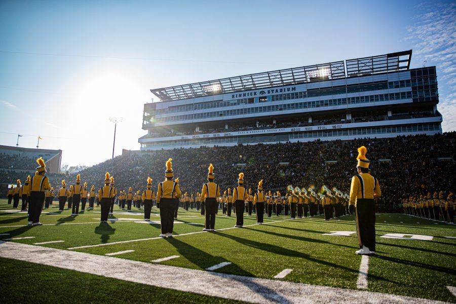 The+Hawkeye+Marching+Band+performs+during+a+football+game+between+Iowa+and+Minnesota+at+Kinnick+Stadium+on+Saturday%2C+Nov.+16%2C+2019.+The+Hawkeyes+defeated+the+Gophers%2C+23-19.