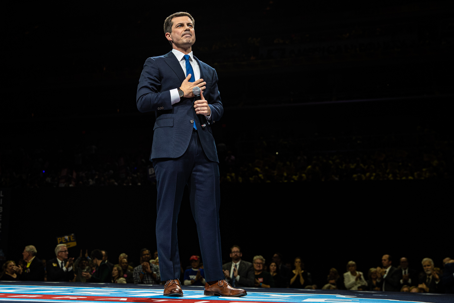 Mayor Pete Buttigieg of South Bend, IN., speaks during the 2019 Liberty and Justice Celebration at the Wells Fargo Arena in Des Moines on Friday, November 1, 2019.