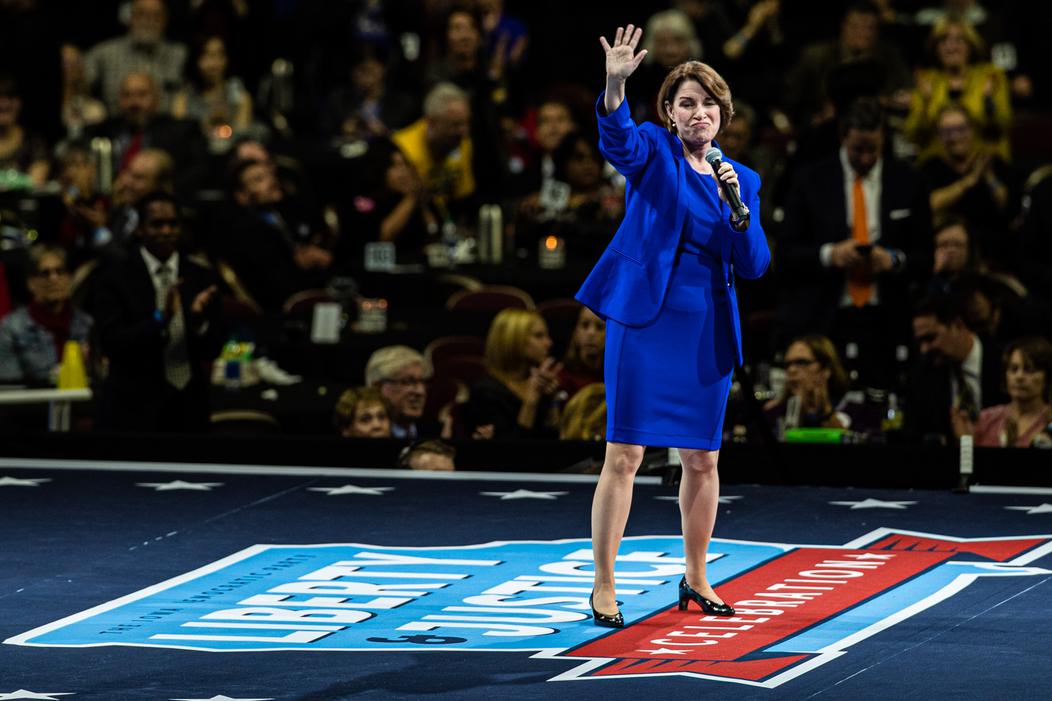 Sen. Amy Klobuchar, D-Minn., speaks during the 2019 Liberty and Justice Celebration at the Wells Fargo Arena in Des Moines on Friday, November 1, 2019.