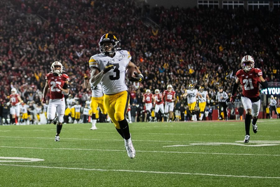 Iowa wide receiver Tyrone Tracy Jr. runs into the end zone during a game against Wisconsin at Camp Randall Stadium on Saturday, November 9, 2019. The Hawkeyes were defeated by the Badgers 24-22. Tracy Jr. ran for a 75 yard touchdown in the 4th quarter.