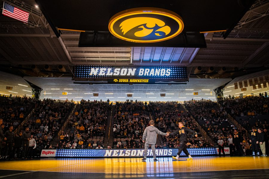 Iowa%27s+Nelson+Brands+is+introduced+during+a+wrestling+dual-meet+between+Iowa+and+Tennessee-Chattanooga+at+Carver-Hawkeye+Arena+on+Sunday%2C+Nov.+17%2C+2019.+The+Hawkeyes+defeated+the+Mocs%2C+39-0.