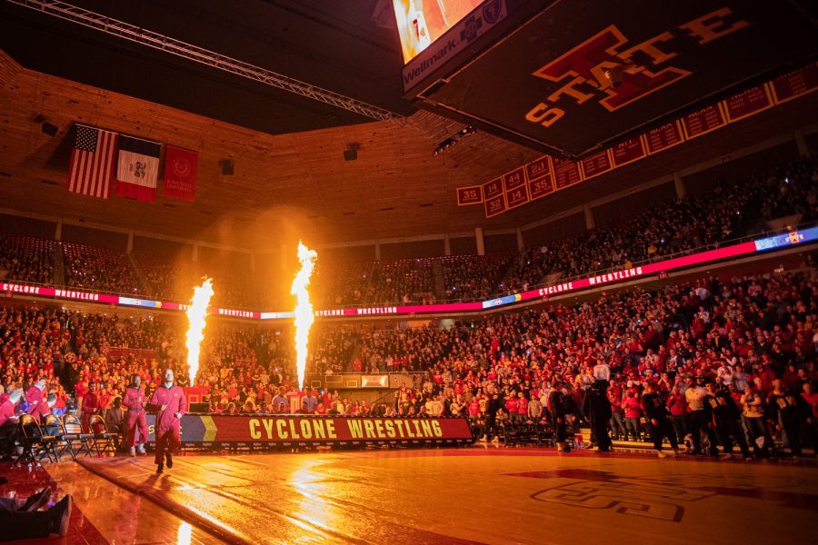 Iowa+State+wrestlers+are+introduced+during+a+wrestling+dual+meet+between+Iowa+and+Iowa+State+at+the+Hilton+Coliseum+in+Ames+on+Sunday%2C+November+24%2C+2019.+The+Hawkeyes+defeated+the+Cyclones%2C+29-6.