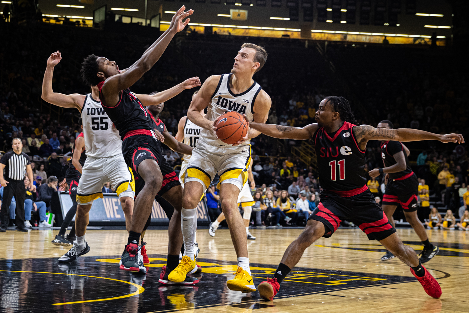 Iowa forward Jack Nunge handles the ball during a men's basketball game between Iowa and Southern Illinois-Edwardsville at Carver-Hawkeye Arena on Friday, Nov. 8, 2019. Nunge scored 2 points and had 2 assists in the win.
