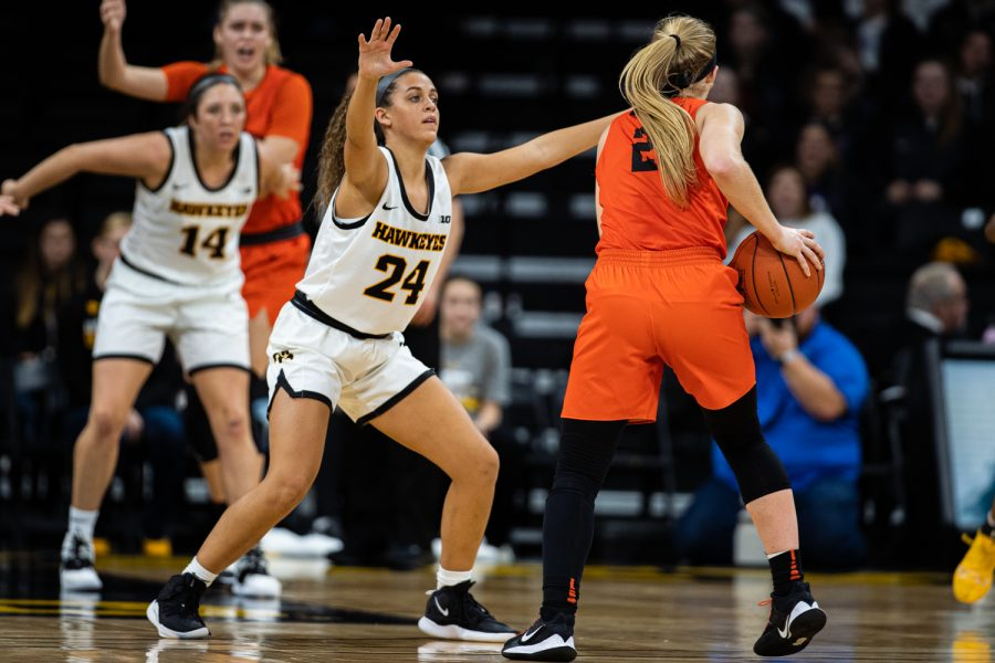 Iowa+guard+Gabbie+Marshall+defends+against+Princeton%27s+Carlie+Littlefield+during+a+women%27s+basketball+game+between+Iowa+and+Princeton+at+Carver-Hawkeye+Arena+on+Wednesday%2C+November+20%2C+2019.+The+Hawkeyes+defeated+the+Tigers%2C+77-75+in+overtime.