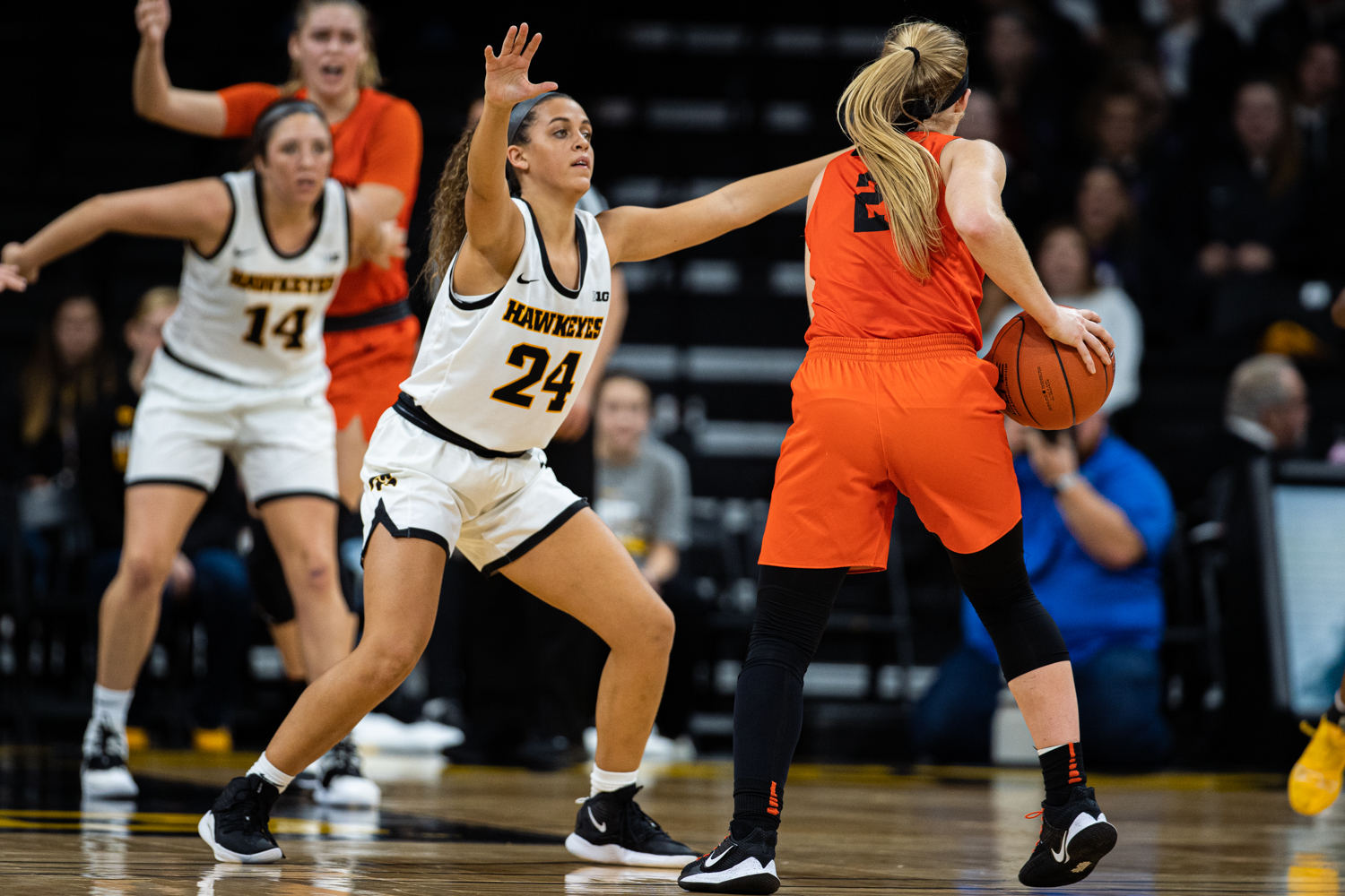 Iowa guard Gabbie Marshall defends against Princeton's Carlie Littlefield during a women's basketball game between Iowa and Princeton at Carver-Hawkeye Arena on Wednesday, November 20, 2019. The Hawkeyes defeated the Tigers, 77-75 in overtime.