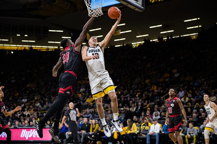 Iowa+guard+Joe+Wieskamp+goes+for+a+layup+during+a+men%27s+basketball+game+between+Iowa+and+Southern+Illinois-Edwardsville+at+Carver-Hawkeye+Arena+on+Friday%2C+Nov.+8%2C+2019.+Wieskamp+played+for+27%3A47+and+scored+16+points+in+the+win.