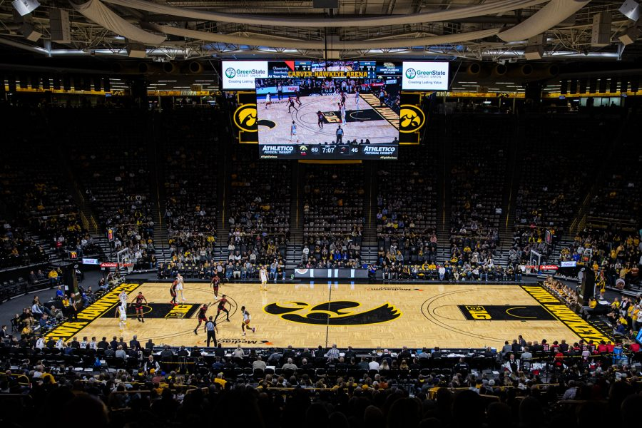 Game action is underway during a men's basketball game between Iowa and Southern Illinois-Edwardsville at Carver-Hawkeye Arena on Friday, Nov. 8, 2019.