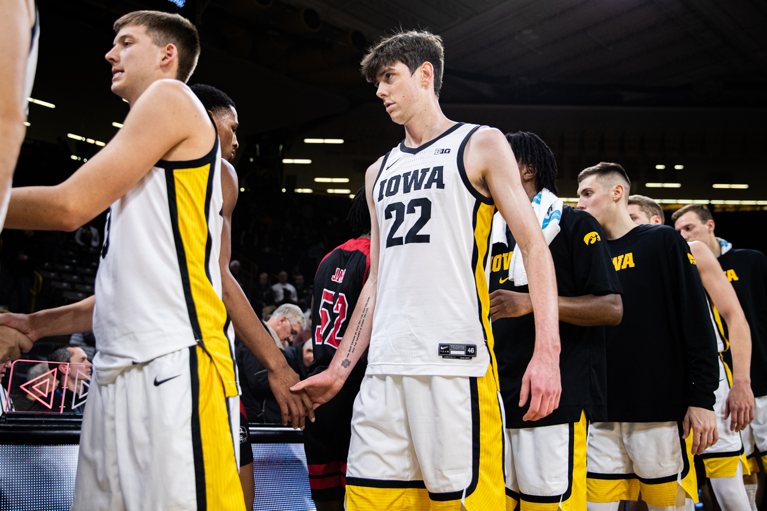 Iowa forward Patrick McCaffery shakes hands after a men's basketball game between Iowa and Southern Illinois-Edwardsville at Carver-Hawkeye Arena on Friday, Nov. 8, 2019. McCaffery finished 2 of 7 from inside the paint and had 4 rebounds on the night.