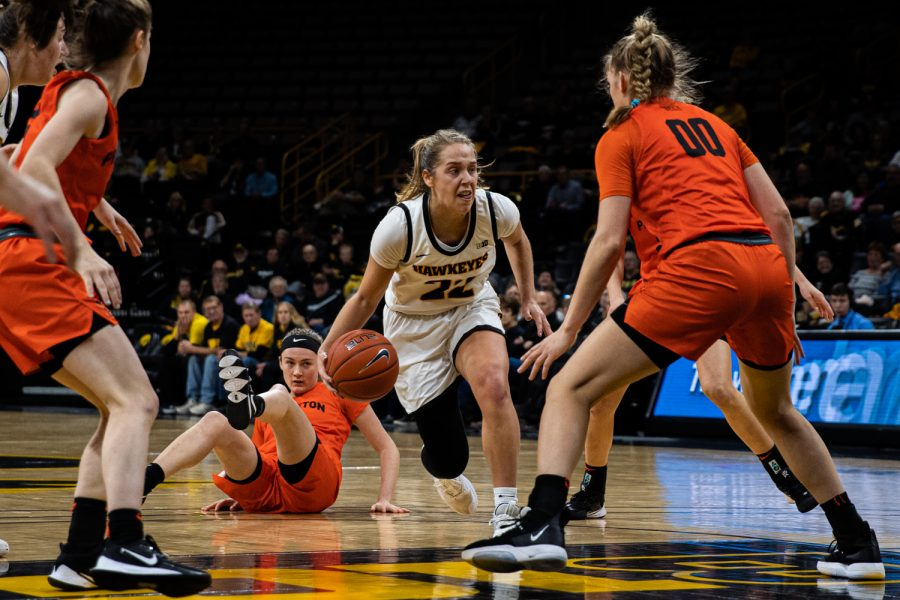 Iowa+guard+Kathleen+Doyle+dribbles+during+a+women%27s+basketball+game+between+Iowa+and+Princeton+at+Carver-Hawkeye+Arena+on+Wednesday%2C+November+20%2C+2019.+The+Hawkeyes+defeated+the+Tigers%2C+77-75+in+overtime.