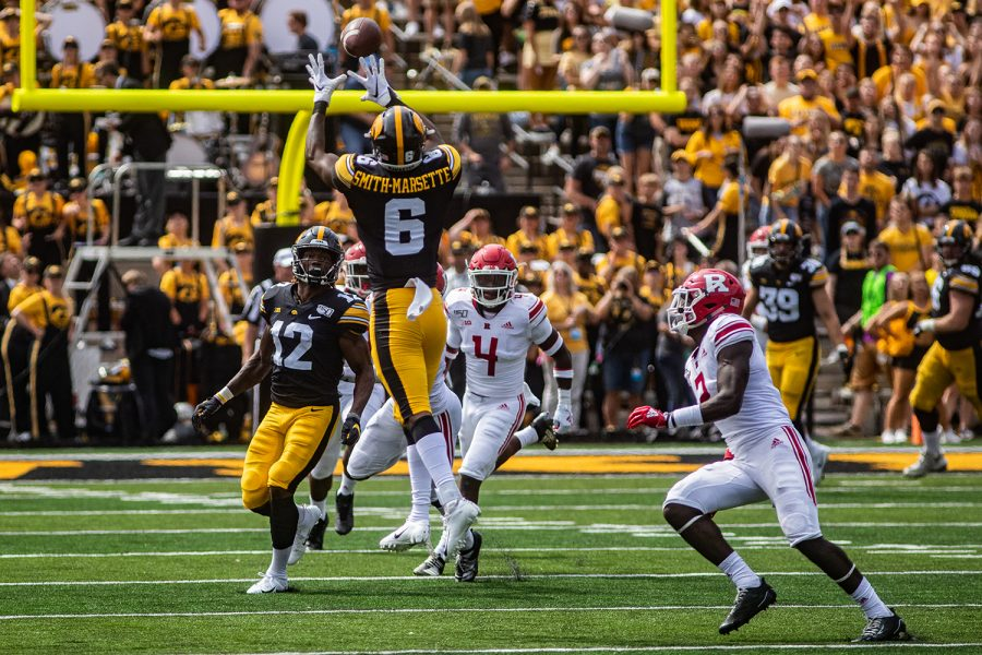Iowa+wide+receiver+Ihmir+Smith-Marsette+catches+the+ball+during+a+football+game+between+Iowa+and+Rutgers+at+Kinnick+Stadium+on+Saturday%2C+September+7%2C+2019.+The+Hawkeyes+defeated+the+Scarlet+Knights%2C+30-0.+