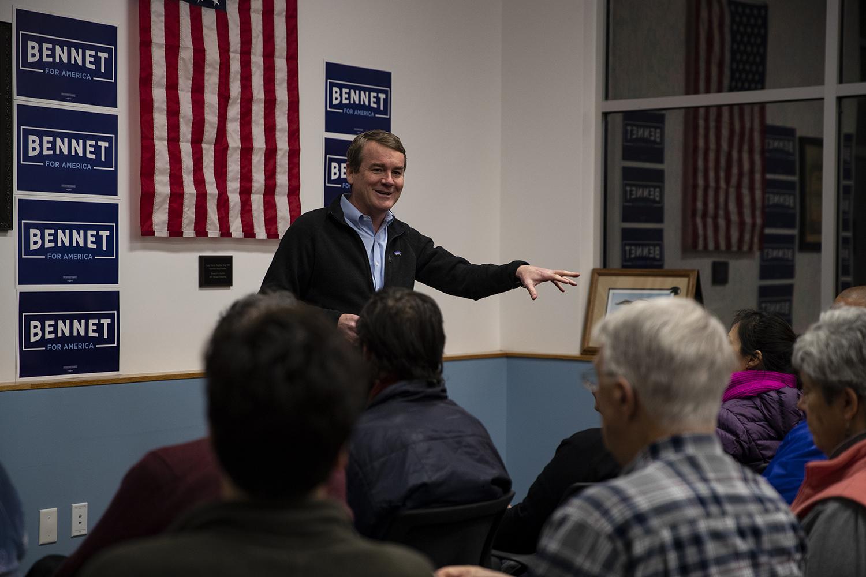 Sen. Michael Bennet, D-Colo. speaks at Carpenters Union Local on Sunday, Dec. 1, 2019.