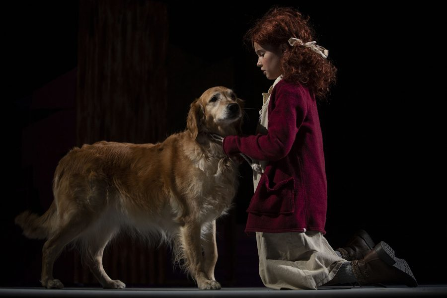 Camila Koch performs with a dog as Annie during a dress rehearsal of Annie at the Coralville Center for the Performing Arts on Wednesday, Dec. 4, 2019. The musical, directed by Liz Tracey, will open Friday, Dec. 6.