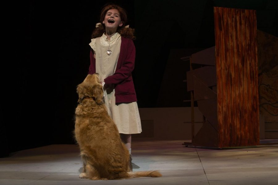 "Camila Koch sings the iconic number, ""Tomorrow"" as Annie during a dress rehearsal of Annie at the Coralville Center for the Performing Arts on Thursday, Dec. 5, 2019. (Jenna Galligan/The Daily Iowan)"
