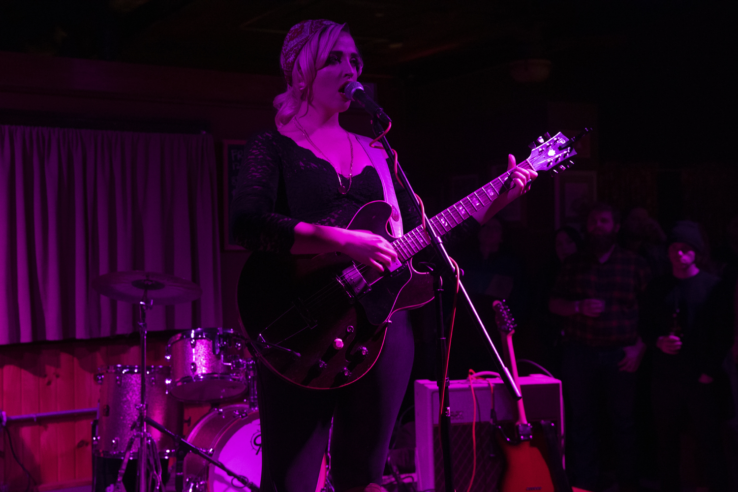 Elizabeth Moen performs a solo set during a concert at Trumpet Blossom Cafe on Friday, Dec. 6, 2019. The concert features local artists Sinner Frenz, Good Morning Midnight, Elizabeth Moen, and Karen Meat.