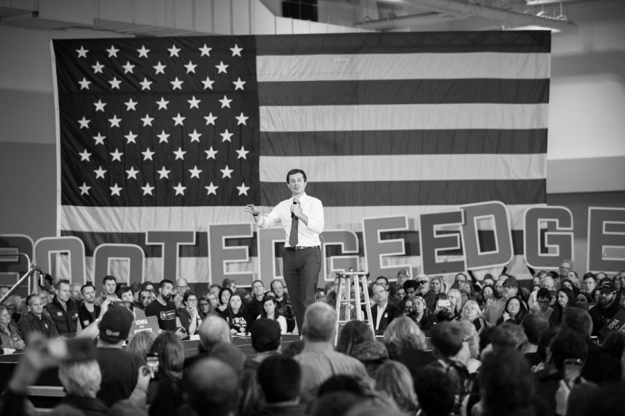 Mayor of South Bend, Indiana Pete Buttigieg speaks during a town hall at the Coralville Marriott on Sunday, December 8, 2019. Mayor Buttigieg spoke to a crowd of over two thousand people at the event.