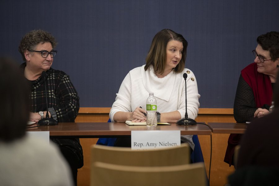 Rep. Amy Nielsen, D-North Liberty speaks during the Eastern Iowa Legislative Forum hosted by The Daily Iowan at the Iowa City Public Library on Sunday, Dec. 8, 2019. The forum surrounded topics including education, state budget, medicare, and environmental issues. (Jenna Galligan/The Daily Iowan)
