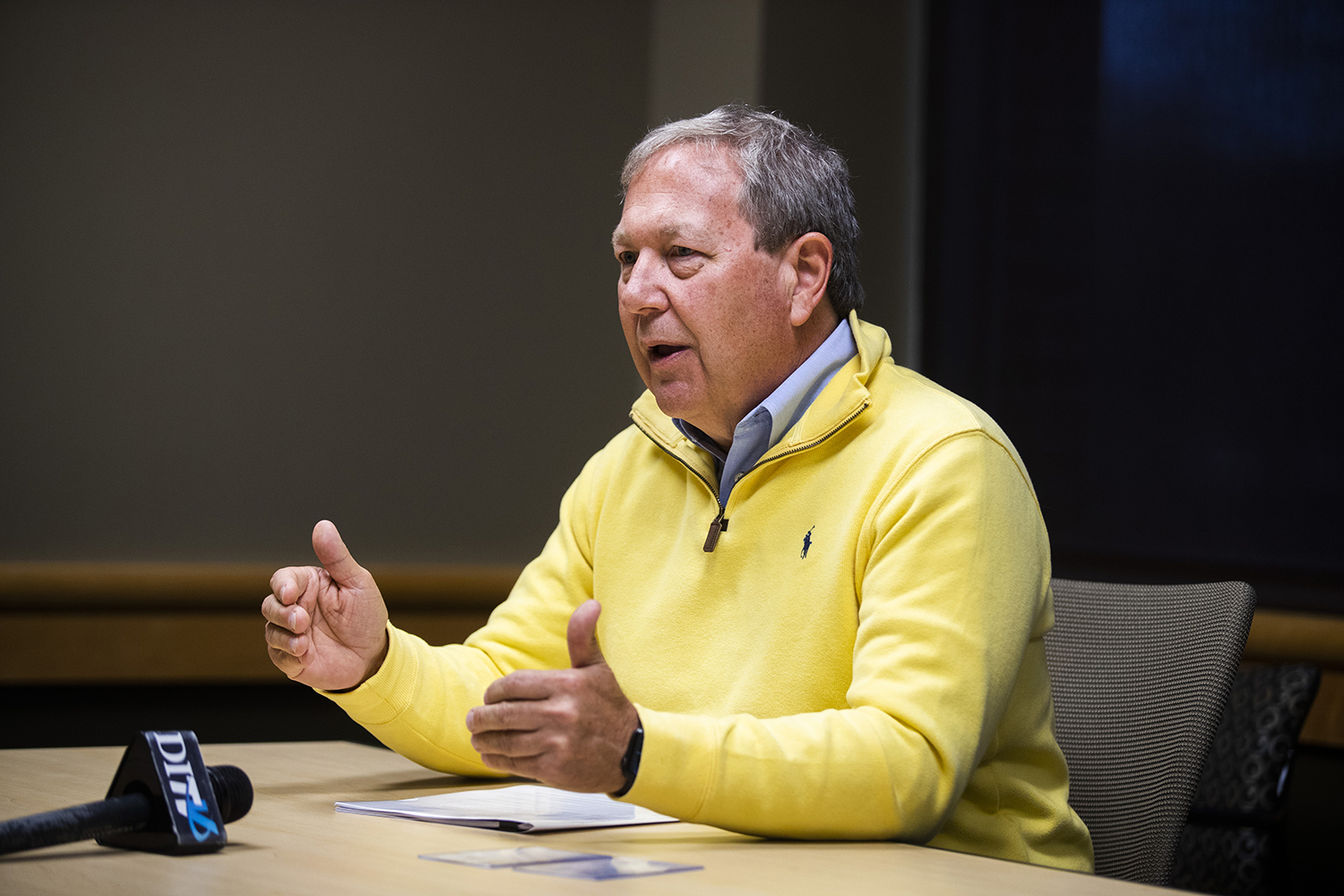 UI President Bruce Harreld answers questions during an interview with The Daily Iowan in the Adler Journalism Building on Monday, December 9, 2019.