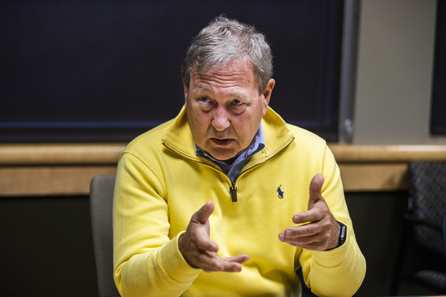 UI President Bruce Harreld answers questions during an interview with The Daily Iowan in the Adler Journalism Building on Monday, Dec. 9, 2019.