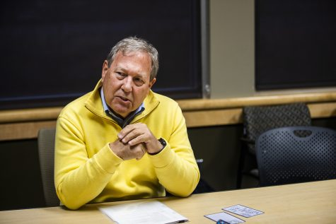 UI President Bruce Harreld answers questions during an interview with The Daily Iowan in the Adler Journalism Building on Monday, December 9, 2019. (Katina Zentz/The Daily Iowan)