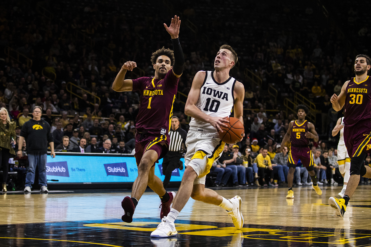 Iowa guard Joe Wieskamp drives the ball during the men's basketball game against Minnesota at Carver-Hawkeye Arena on Monday, December 9, 2019. The Hawkeyes defeated the Gophers 72-52. Wieskamp scored 8 of his 15 attempted shots.