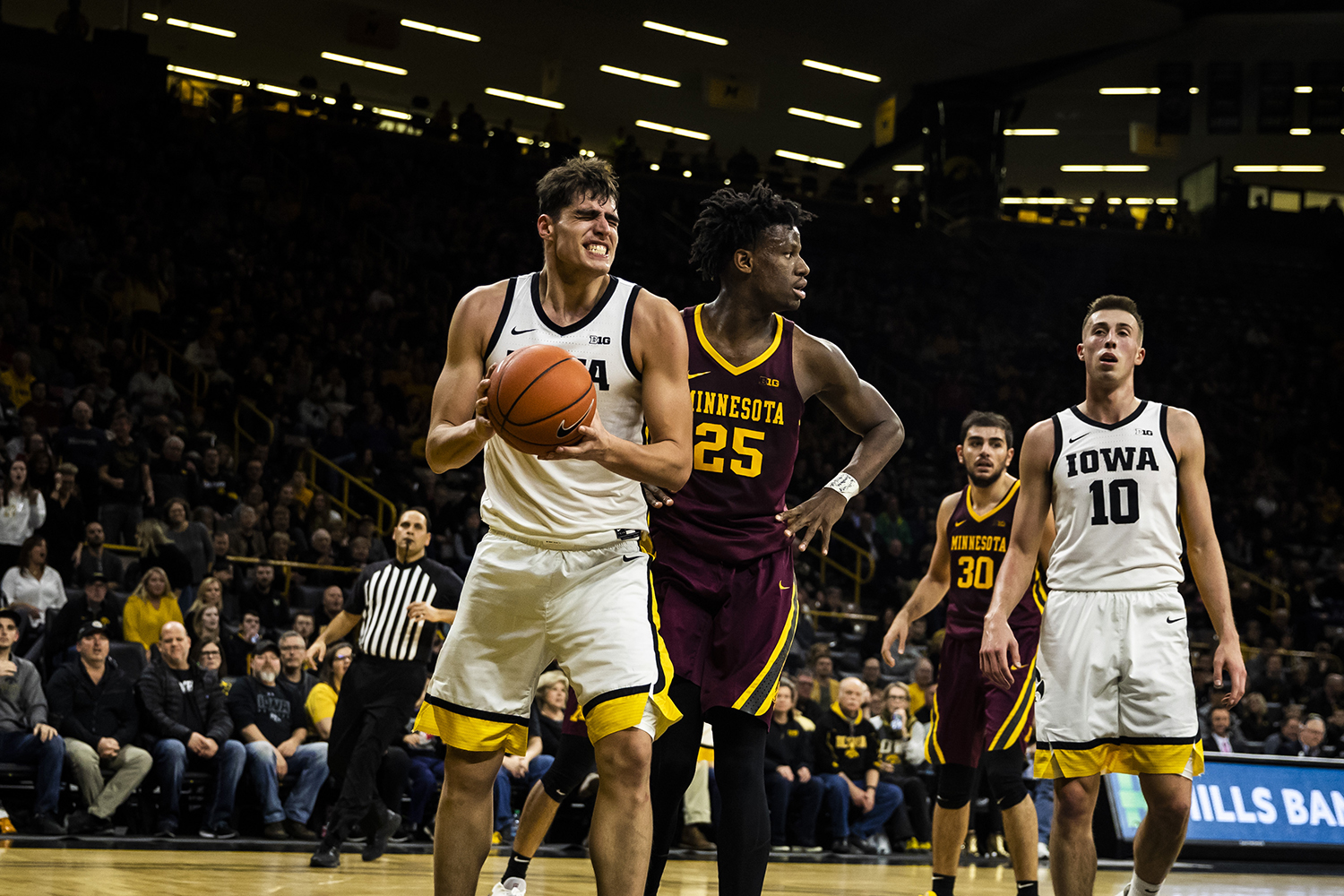 Iowa center Luka Garza reacts during the men's basketball game against Minnesota at Carver-Hawkeye Arena on Monday, December 9, 2019. The Hawkeyes defeated the Gophers 72-52. Garza played 30 minutes during the game.