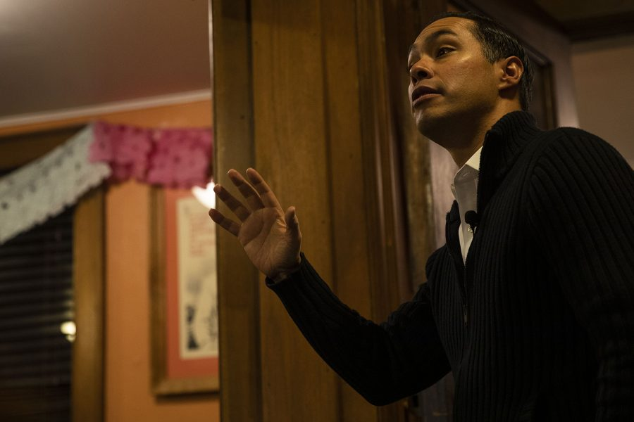 Former Housing and Urban DevelopmentSecretary Julián Castro speaks at the Latino-Native American Cultural Center on Wednesday, Dec. 11, 2019.