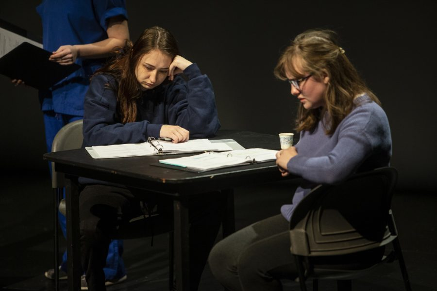 Owen, played by Laura Brightman, performs during a dress rehearsal for You Are Not Alone In The Void on Dec. 11. You Are Not Alone In The Void, written and directed by Emmy Lane Palmersheim, opens in the Alan MacVey Theatre on December 13.