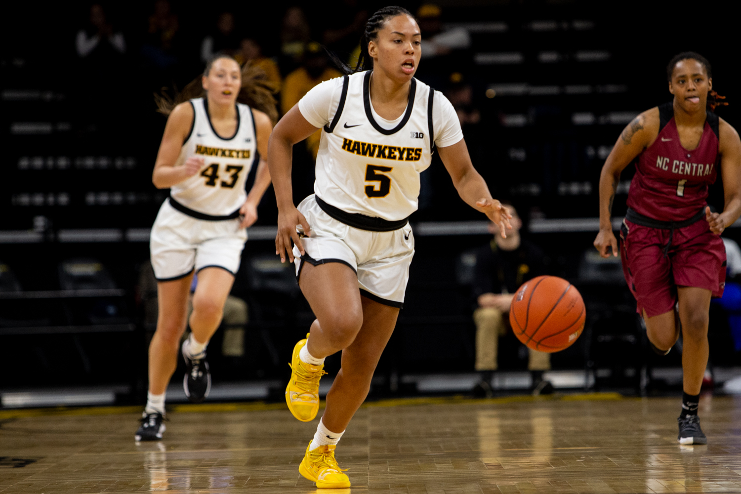 Iowa guard Alexis Sevillian drives down the court during a game against North Carolina Central University on Saturday, Dec. 14, 2019 at Carver Hawkeye Arena. The Hawkeyes defeated the Eagles, 102-50.