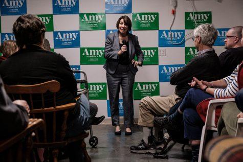Senator Amy Klobuchar, D-Minn. speaks during an office opening event in Iowa City on Saturday, December 28, 2019. Senator Klobuchar spoke to an audience of around 200 people.