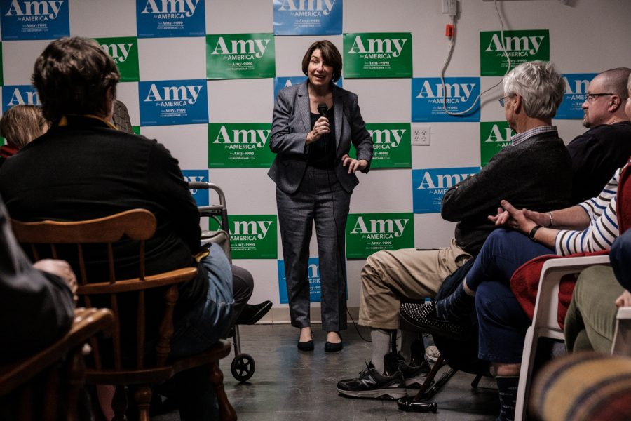 Senator+Amy+Klobuchar%2C+D-Minn.+speaks+during+an+office+opening+event+in+Iowa+City+on+Saturday%2C+December+28%2C+2019.+Senator+Klobuchar+spoke+to+an+audience+of+around+200+people.+