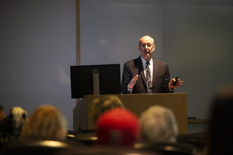 University Chief Financial Officer and Treasurer Terry Johnson speaks at the utility public private partnership information meeting in The Medical Education Research Facility on Thursday, December 12, 2019. The meeting focused on explaining the 50-year partnership between the University of Iowa, Meridiam and ENGIE.