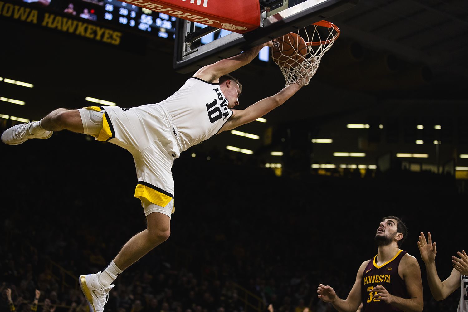 Iowa guard Joe Wieskamp dunks the ball during the men's basketball game against Minnesota at Carver-Hawkeye Arena on Monday, December 9, 2019. The Hawkeyes defeated the Gophers 72-52.