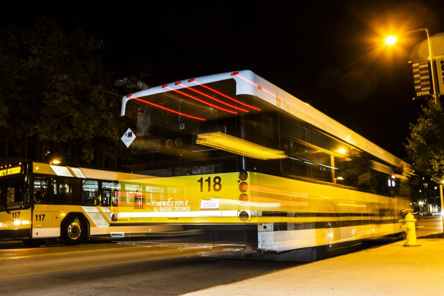 A Cambus passes by the Main Library on Thursday, September 26, 2019.