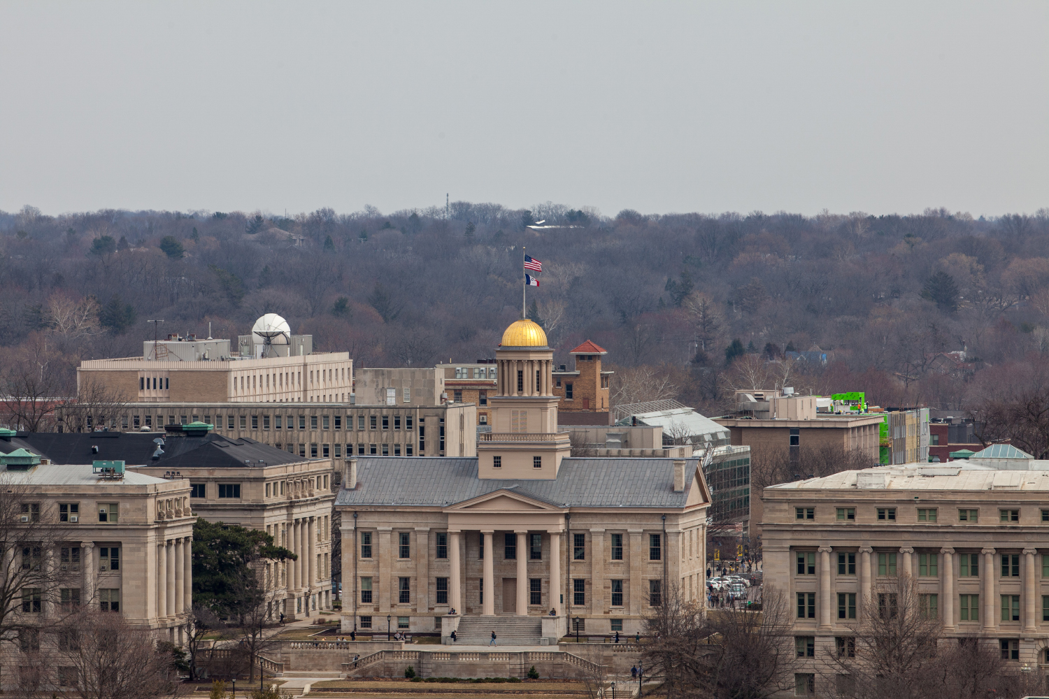 The Old Capital from the roof of UIHC in Iowa City, Iowa on March 25, 2019.