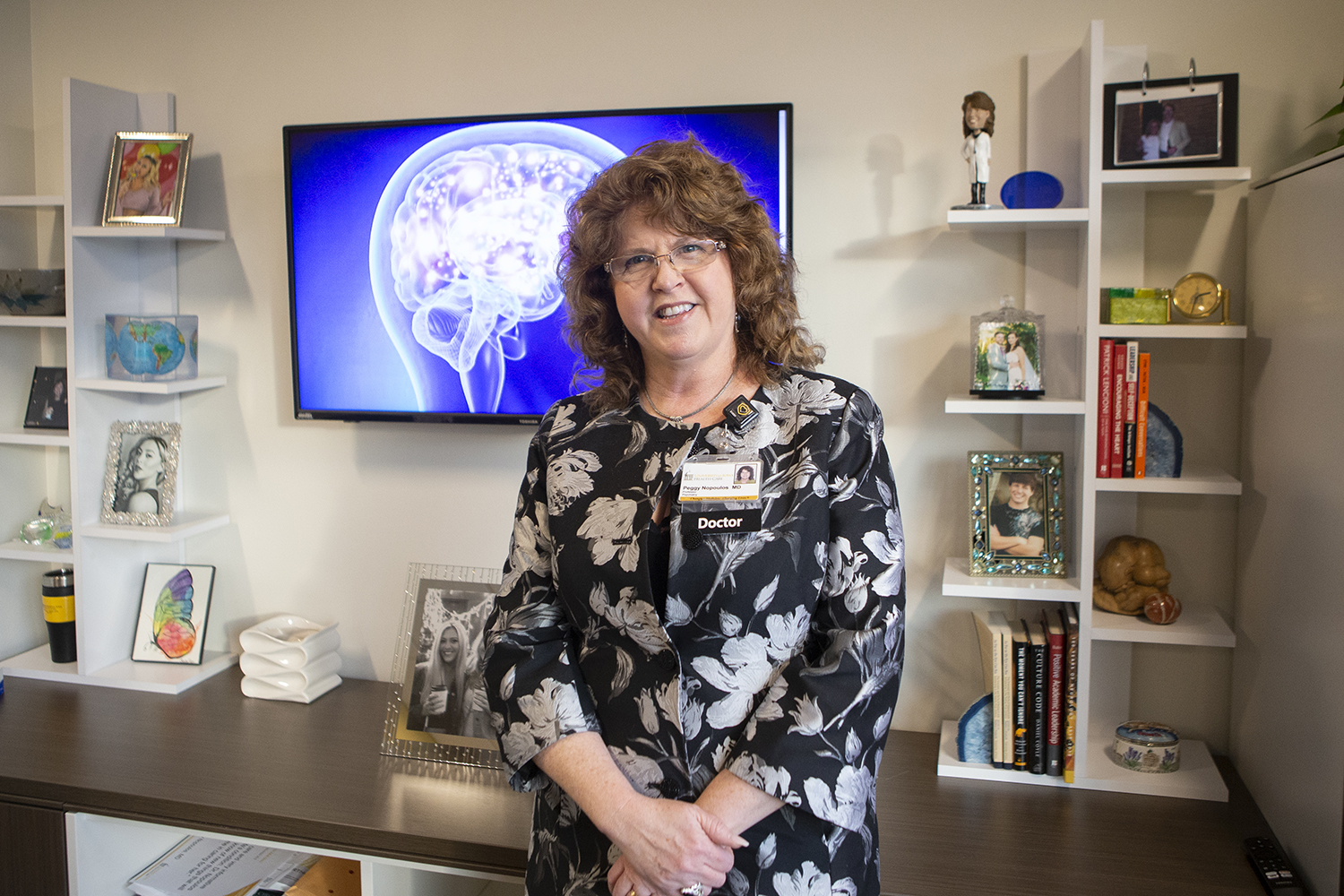 Department of Psychiatry Chair and DEO Dr. Peggy Nopoulos poses for a photo in her office in the Pappajon Pavilion on Thursday, December 12, 2019. Dr. Nopoulos is conducting research on the neurological disease Huntington's disease. (Hayden Froehlich/The Daily Iowan.)